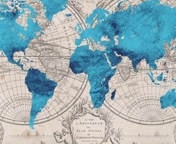 Turquoise Vintage World Map Print Retro Travel Poster Print - Retro world map poster