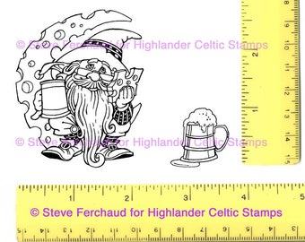 Gnome Moon-Cheese and Beer Mug set Unmounted Rubber Stamps