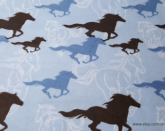 Flannel Fabric - Horses Running Sketch Blue - By the yard - 100% Cotton Flannel