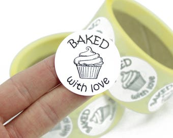 Baked with love, labels / stickers. For baked goods, kitchen labels. Cookies, Cakes, Buns, Cupcakes. 40mm Diameter.