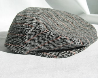 Wool Flat Cap, Wool HerringboneTweed Hat, Wool Newsboy, Man Hat, Ivy Cap, Driving Golf Cap for Gentlemen, Herringbone Wool Toddler Flat Cap