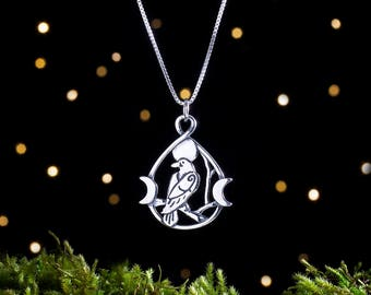 Sterling Silver Raven and Triple Moon - Double Sided - (Pendant or Necklace)