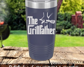 The Grillfather Engraved Powder Coated 20oz Tumbler Rambler, Gift for Guy, BBQ