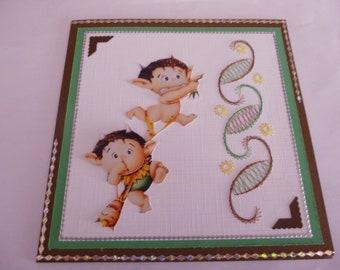 """2018129 embroidered """"funny mini tarzan"""" card"""