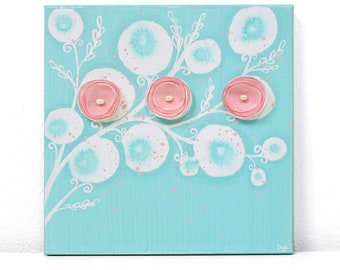 Small Nursery Art Decor for Baby Girl, Flower Painting on Square Canvas in Aqua and Pink, Original Art - 10x10
