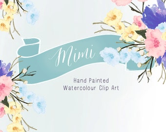 Watercolour Flowers - Hand Painted Clip Art - Mimi