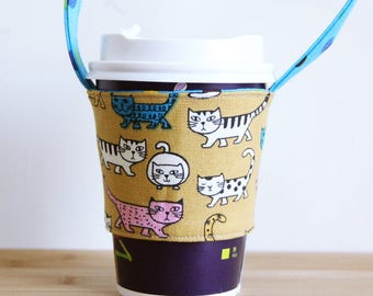 A75 Fabric coffee cup holder / Fabric coffee cozy / cup sleeve / drink sleeve / reusable coffee sleeve
