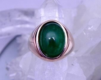 AAA Emerald Cabochon Natural   13x10mm  4.91 Carats   14K Rose gold Mans Ring 10 grams  1981