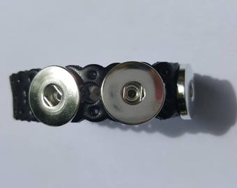 Bracelet black pr snap metal 24cm long