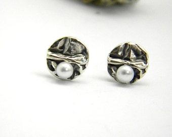 Sterling silver studs pearl earrings, white pearl post earrings, wedding white pearl rustic jewelry oxidized pearl studs, everyday earrings