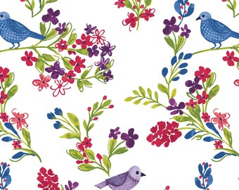 "Clothworks, From Ellen Crimi-Trent, ""Marguerite"", Blue Birds and Red Flowers, yard"