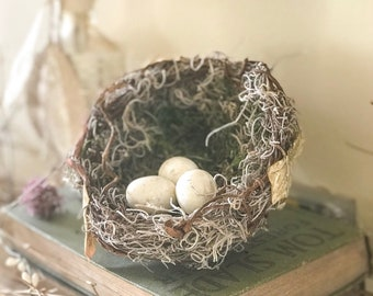 Woodland Spring Bird Nest, Shabby Chic Bird Nest, Shabby Chic Spring Wedding, Nest