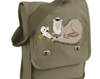 Support Global Otter Conservation - North American River Otter -  Messenger Bags! - Original Artwork