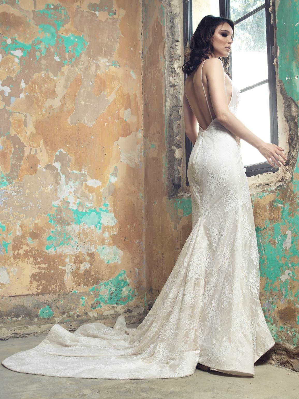Öffnen Sie wieder Brautkleid Französisch Spitze Brautkleid