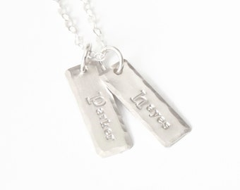 Personalized Two Name Necklace, Sterling Silver Bar Necklace, Mothers Necklace Hand Stamped with Names