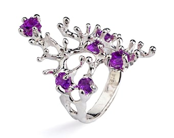 REEF 14k White Gold Ring, White Gold Amethyst Ring, Purple Amethyst Ring Gold, Amethyst Engagement Ring, Unique Amethyst Ring