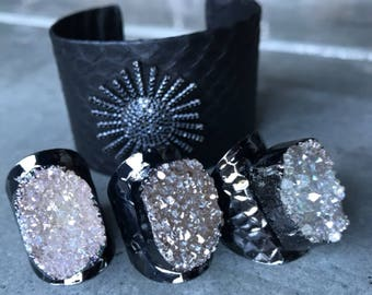 Druzy Rings and sun star faux leather bracelet, edgy chic jewelry, boho rock, druzy jewelry, faux leather jewelry