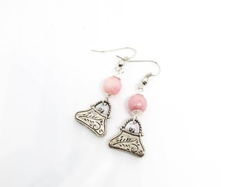 Purse charm with light pink faceted bead - silver metal wired - earhooks