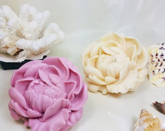 Silicone Mold, blossoming Peony - 3D, Candle, Soap, Plaster, polymer clay mold -  (2 parts - assembled)