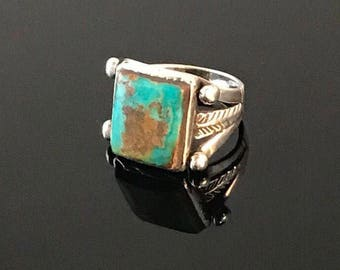 Vintage Native American Sterling Turquoise Feathers Arrows Southwest Ring size 4.5