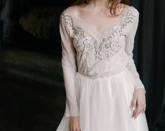 Ready to ship / Tulle wedding gown // Orchidee / Ivory wedding dress, long sleeve dress, winter wedding dress, A line bridal dress