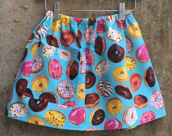 Girls Cotton Donut Pocket Skirt for Baby, Toddler, Child - You Pick Blue or Black - Fun Kids Clothes, Great as a Birthday or Shower Gift