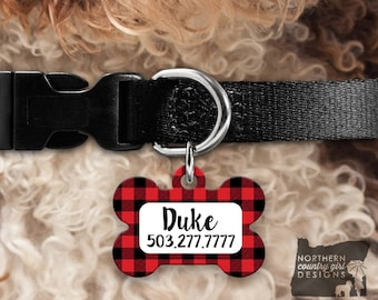 Custom Dog Tag for Dogs Dog ID Tags Personalized Pet Buffalo Plaid Pet Tag Pet Tags Pet ID Tag Pet id Tags for Dog Tag ID Dog Tag Dog Tags