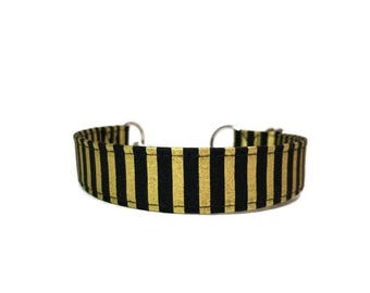 Black and Gold Stripes Dog Collar, Black and Gold Cat Collar, Boy Collar, Girl Collar,  Made To Order, Available in Buckle or Martingale.
