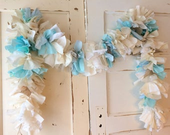 Burlap and Blue Baby Shower Decoration. It's a Boy Burlap and Blue Baby Shower Garland.  6-10 foot fabric Garland. Eco-Friendly Decor