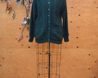 Vintage 80's Forest Green Irish Cable Knit Wool Sweater Cardigan Long Sleeves SZ M