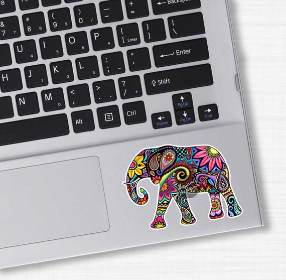 Small Elephant Laptop Decal Colorful Design Bumper Sticker