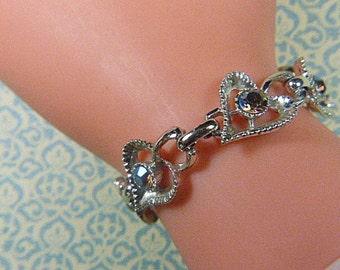 Vintage Aurora Borealis and Silver Heart Bracelet - BRAC-155 - Heart Bracelet - Aurora Borealis Silver Bracelet