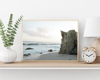ocean wall art, malibu print, beach home decor, landscape wall decor, waves wall art, gift for her, california coastline art print