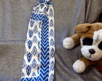 Plastic Bag Holder Sock, Ikat Blue Print