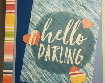 Hello Darling Masculine Valentine's Day Card