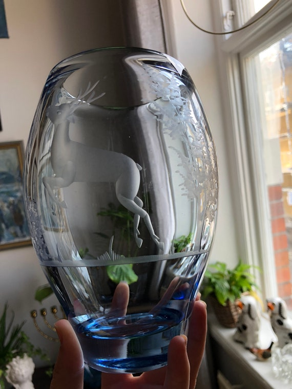 Randsfjord Norwegian art nouveau vase heavy crystal engraved Scandinavian 1940s etched norway
