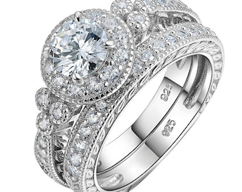 Women 1.2 Ct Round Cut CZ 925 Sterling Silver Halo Wedding Ring Sets Engagement Band Classical Jewelry For Women JR4968