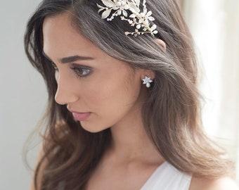 Floral Vine Bridal Headband, Rhinestone Pearl Headband, Crystal Floral Bridal Headpiece,  Gold Pearl Wedding Hair Accessory ~TI-3343
