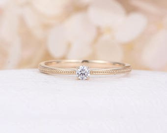 Solitaire engagement ring vintage Minimalist engagement ring 14K Yellow Gold Simple diamond Dainty Promise Stacking Milgrain Birthday gift