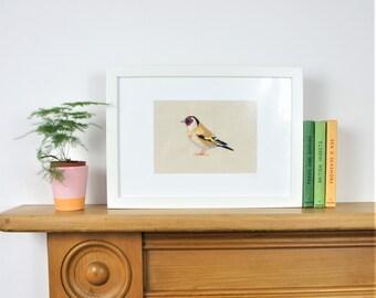 A Goldfinch, British garden bird, Textile art work, freehand or freemotion machine embroidery, framed