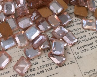 Vintage Glass Pale Pink Octagon Rhinestones - Foiled, Faceted, Beveled, Cabs, Glue On - Small Flat Back Stones - Qty 12