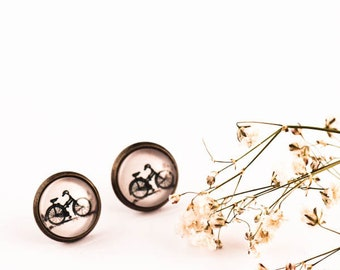 Bicycle Earrings, Bike Earrings, Bicycle Studs, Bike Post Earrings, Bike Stud Earrings, Glass Earrings, Bike Jewelry, gift, vintage bike