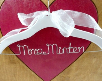 Personalized Hangers - Bride Wedding Hanger - Name Hanger - Last Name Hanger - Engagement Gift - Coat Hanger - Bride Gift Ideas - Custom