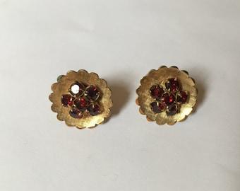 Garnet & Gold Earrings - 14K Gold Filled - Garnet Cluster - Vintage