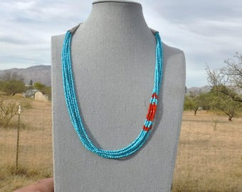 TURQUOISE and CORAL NECKLACE   1062-w