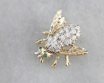 Diamond Encrusted Honey Bee Insect Gold Brooch 0NT4KA-N