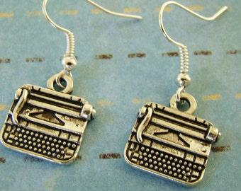 Typewriter Earrings, Tibetan Silver Earrings, Vintage Typewriter Jewelry
