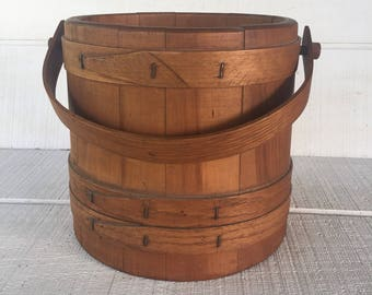 Antique wooden Sugar Bucket, Shaker Style wooden bucket, farmhouse decor, Antique Old New England Wood Firkin Pantry Bucket 4 Finger Banded