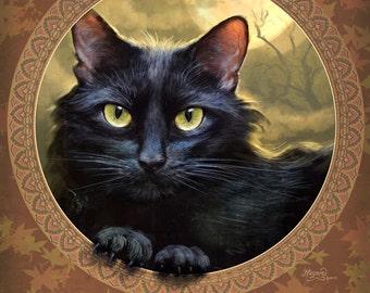 Black Cat Painting // Giclee print // Black Cat // Autumn Color // Halloween  // Cat art // Cat Decor // Cat Wall Art // Digital Art // Cats