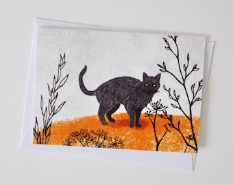 Black Cat Greeting Card for Children and Adults and Fairy Tale Lovers